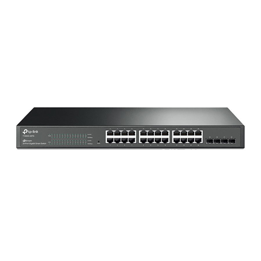 TP-Link (T1600G-28TS) 24-Port Gigabit Smart Switch with 4 SFP Slots, L2+ Features