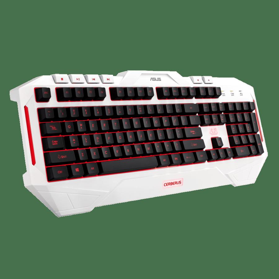 Asus Cerberus Arctic Gaming Keyboard Macro Keys 2 Colour LED Backlighting 19 Anti Ghosting Keys