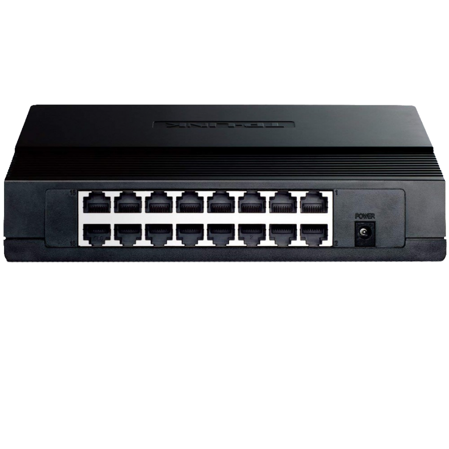 TP-Link (TL-SF1016DS) 16-Port 10/100Mbps Unmanaged Rackmount Switch, 13-inch Steel Case