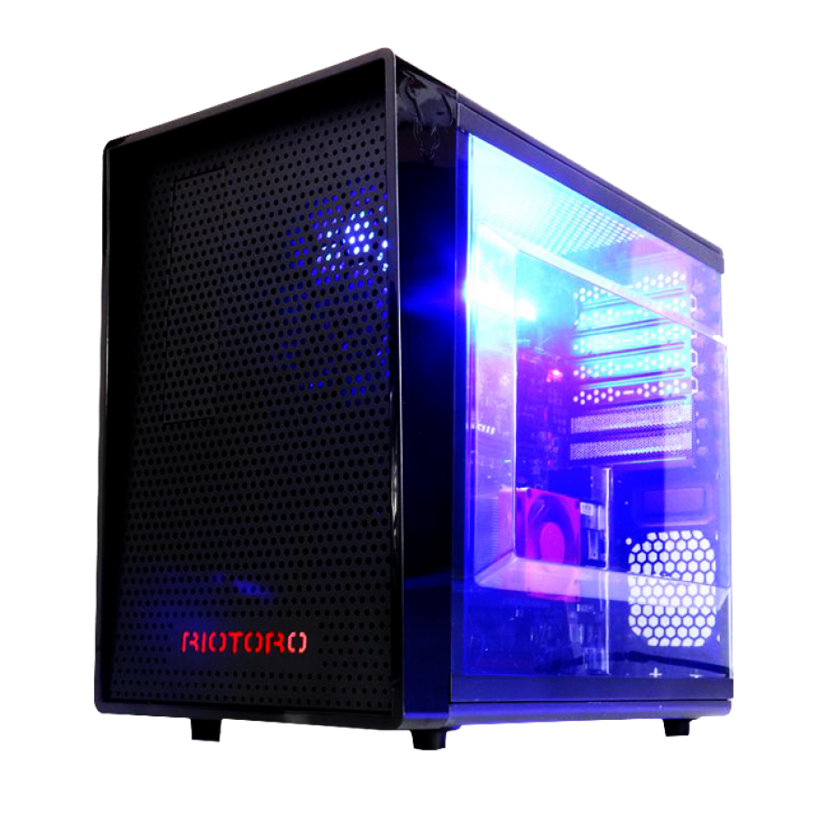 Riotoro CR1080 Mini Gaming Case with Window, ATX, No PSU, 12cm Fan, Full-size ATX MB, GPU and PSU support