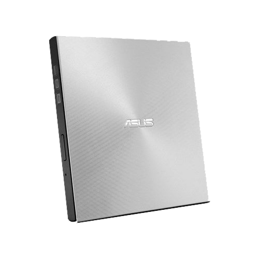 Asus (ZenDrive U9M) External Slimline DVD Re-Writer, USB-A / USB-C, 8x, Black, M-Disc Support, Cyberlink Power2Go 8, Silver