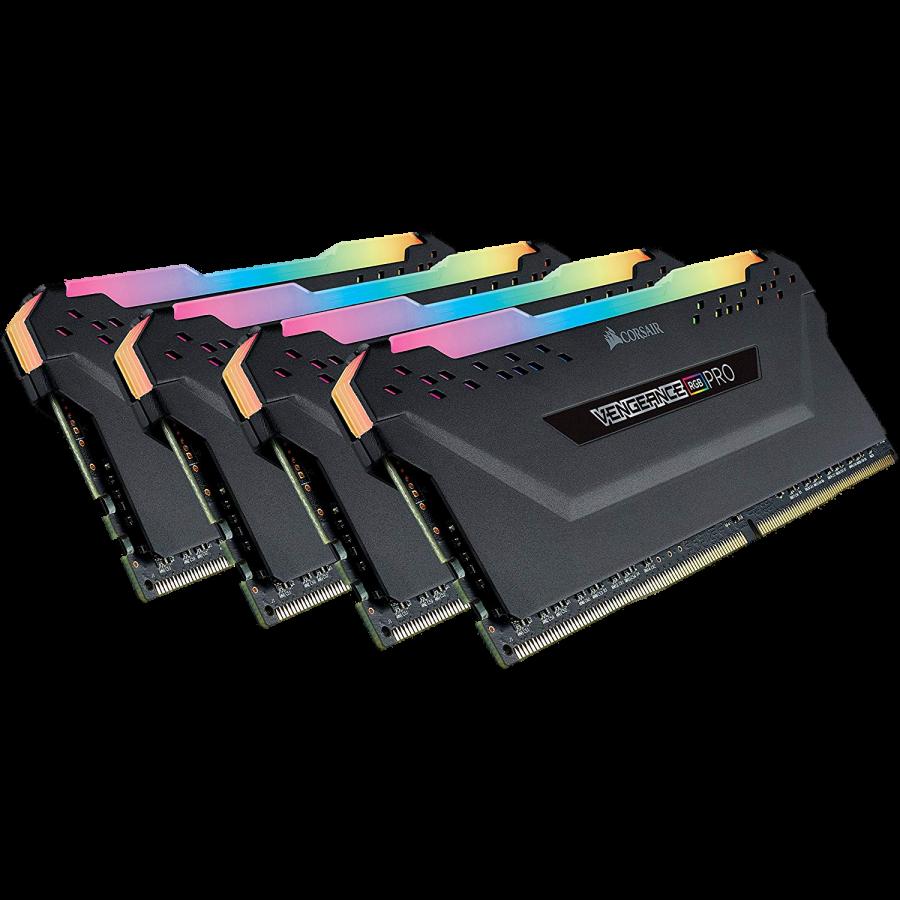 Corsair Vengeance RGB Pro 32GB Memory Kit (4 x 8GB), DDR4, 3600MHz (PC4-28800), CL18, XMP 2.0, Black