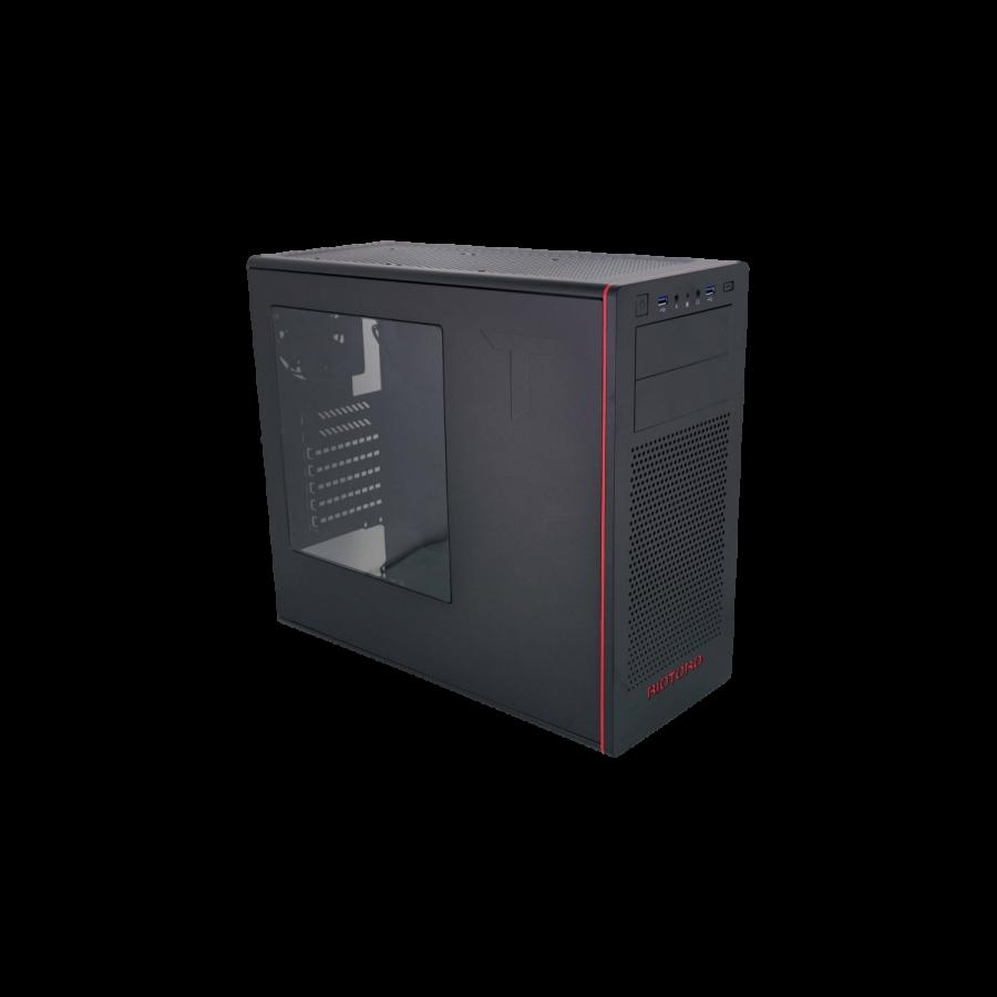 Riotoro CR480 Gaming Case with Window, ATX, No PSU, 2 x 12cm Fans, USB 3.0, Black & Red