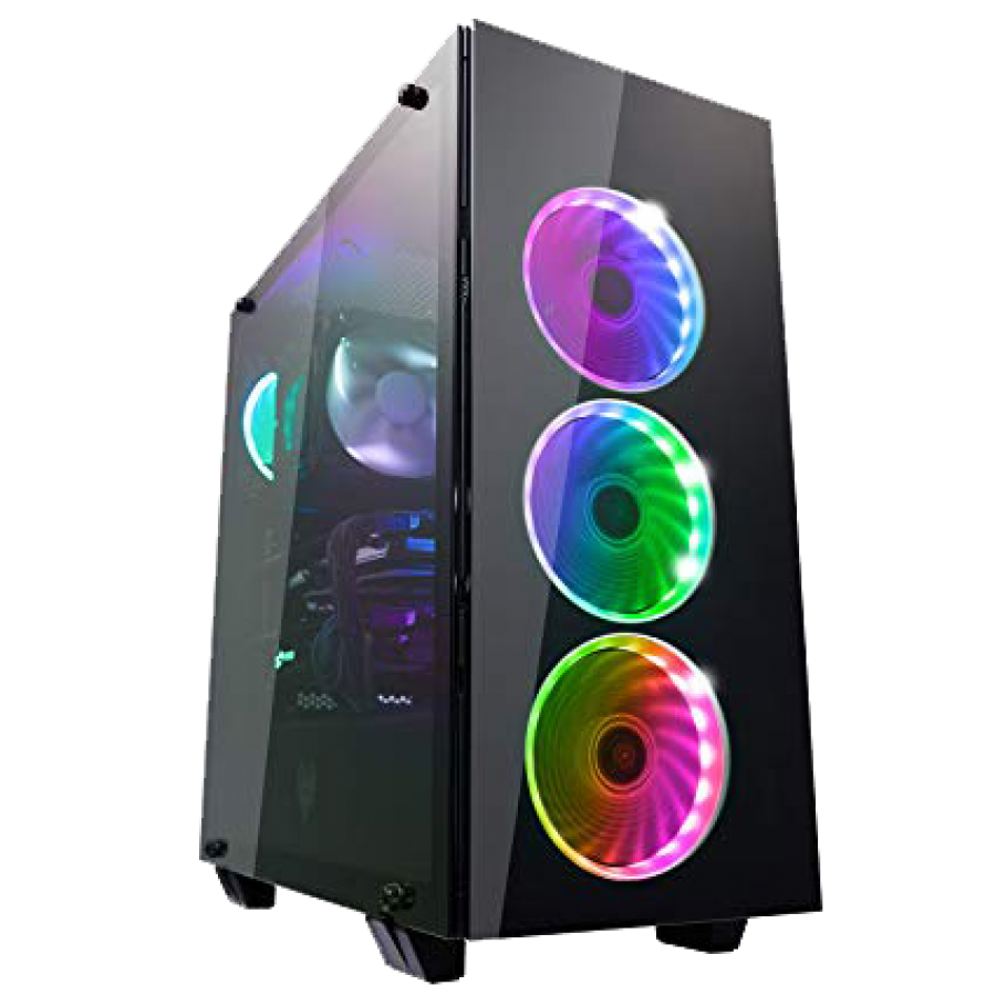 Spire G Force Gaming Case with Window, No PSU, RGB Fans & Remote, Card Reader, Black