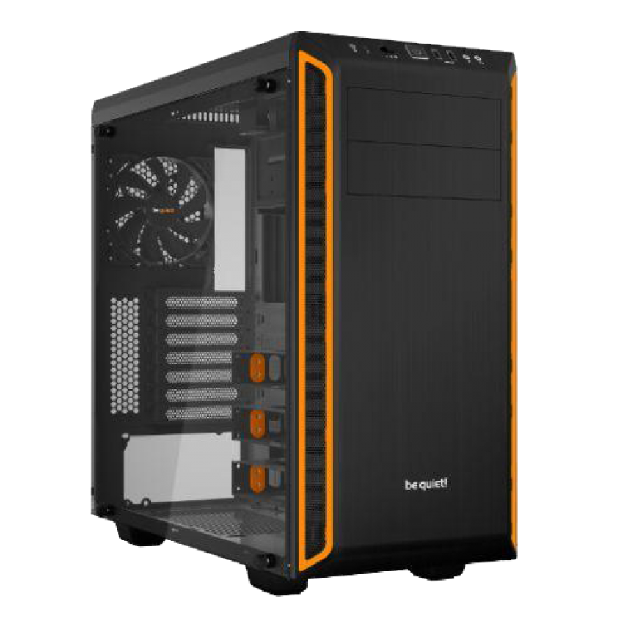 Be Quiet! Pure Base 600 Gaming Case with Window, ATX, No PSU, 2 x Pure Wings 2 Fans, Orange Trim