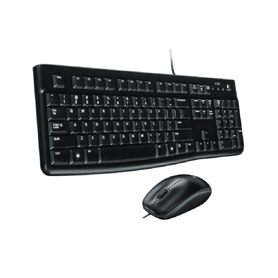 Logitech MK120 Wired Keyboard and Mouse Kit - Black