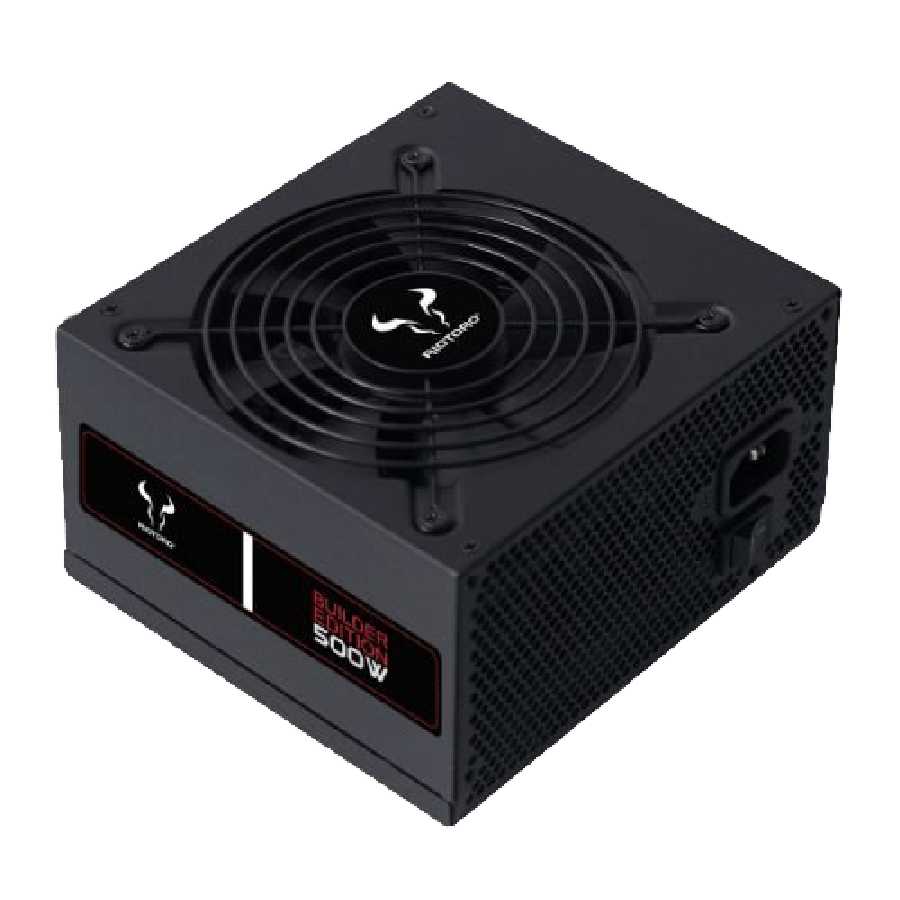 Riotoro 500W Builder Edition PSU, Sleeve Bearing Fan, 80+ White, Flat Cables