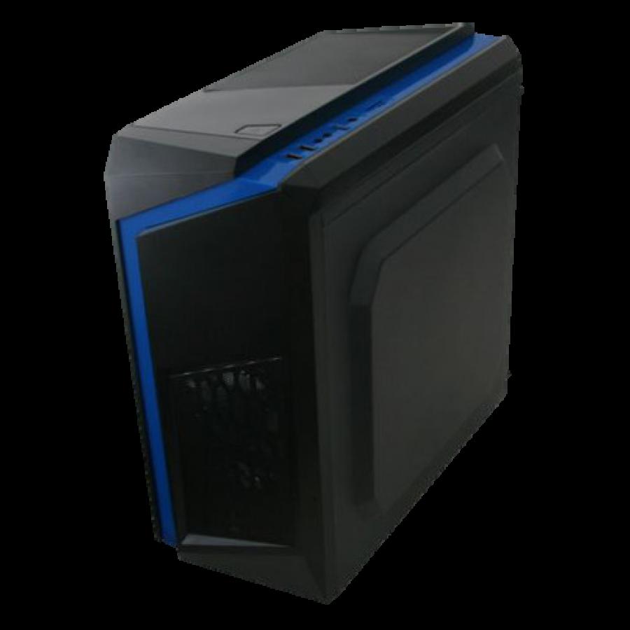 Spire F3 Micro ATX Gaming Case with Windows, No PSU, Black with Blue Stripe, Card Reader