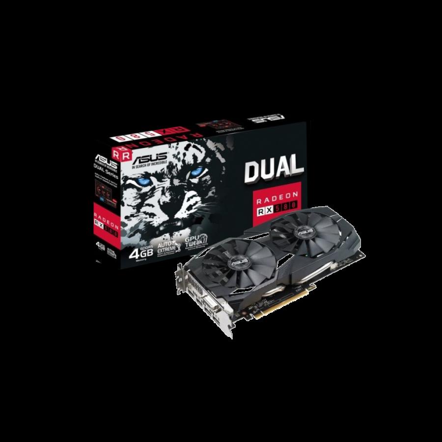 Asus Radeon RX580 DUAL OC, 4GB DDR5, DVI, 2 HDMI, 2 DP, 1380MHz Clock, 0dB Tech