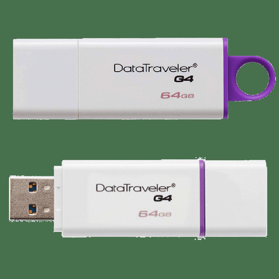 Kingston 64GB USB 3.0 Memory Pen, Data Traveler G4, Lid - White/Purple
