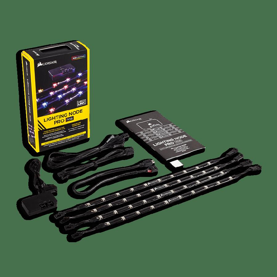 Corsair RGB Lighting Node Pro Kit, RGB Lighting Controller with 4 X Individually Addressable RGB LED Strips