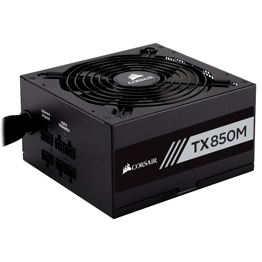 Corsair 850W Enthusiast TX-M Series TX850M PSU, Rifle Bearing Fan, Semi-Modular, 80+ Gold