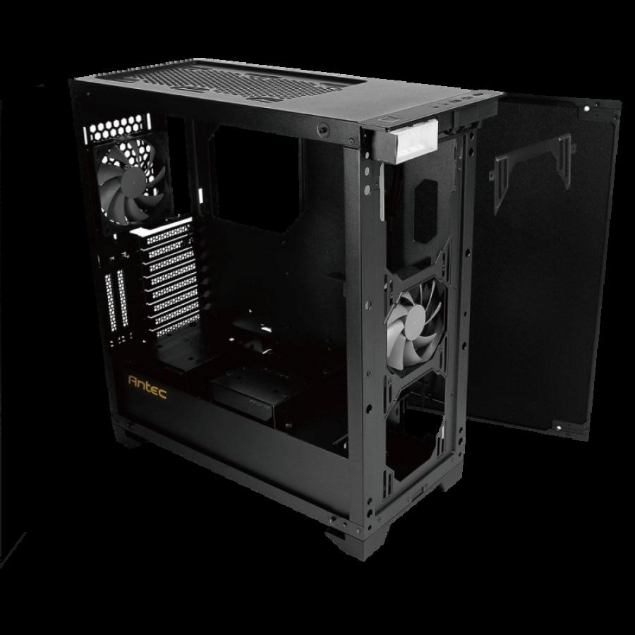 Antec P110 LUCE Gaming Case with Window, No PSU, Tempered Glass, Aluminium Front, RGB LED Logo, HDMI Port