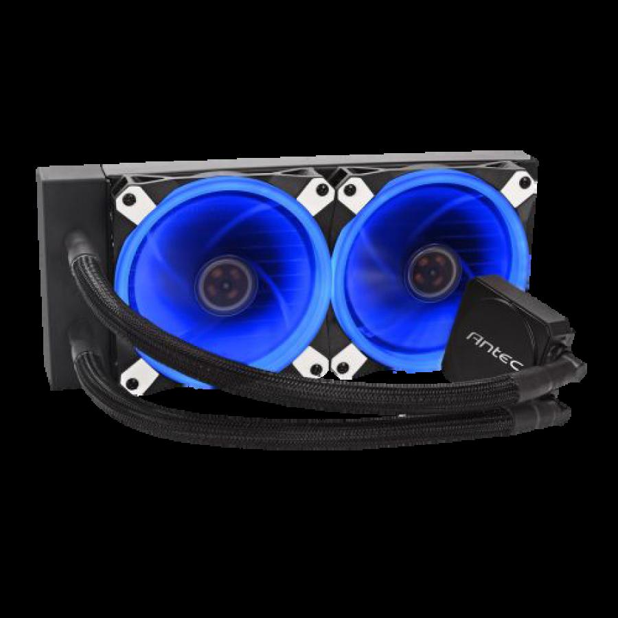 Antec Kuhler H20 K240 Liquid CPU Cooler, 2 x 12cm Blue LED PWM Fans, Low Profile