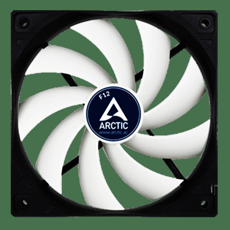 Arctic F12 Low Noise 12CM Case Fan, 9 Blades, Fluid Dynamic - Black & White