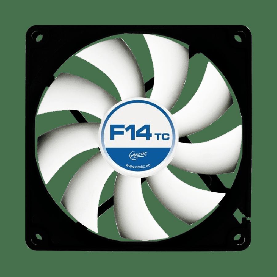 Arctic F14 Temperature Controlled 14CM Case Fan, 9 Blades, Fluid Dynamic - Black & White