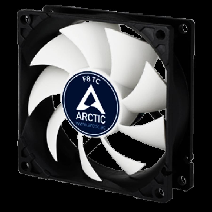 Arctic F8 8CM Temperature Controlled Case Fan, Fluid Dynamic - Black & White