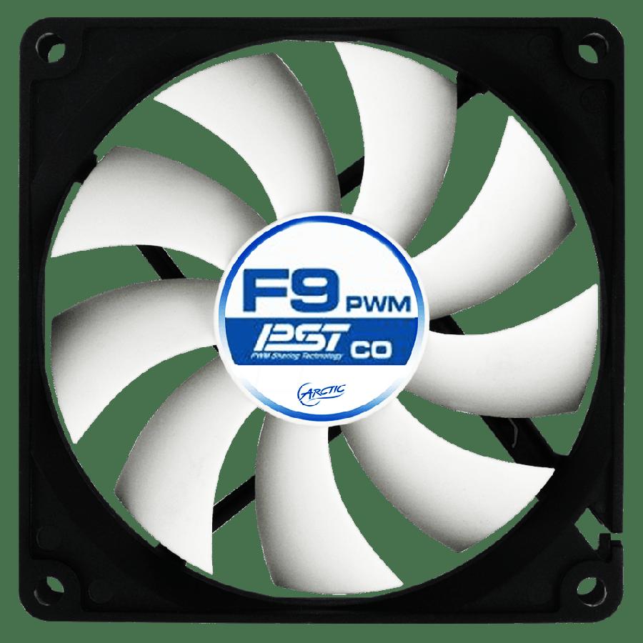 Arctic F9 9.2CM PWM PST Case Fan, 9 Blades, Fluid Dynamic - Black & White