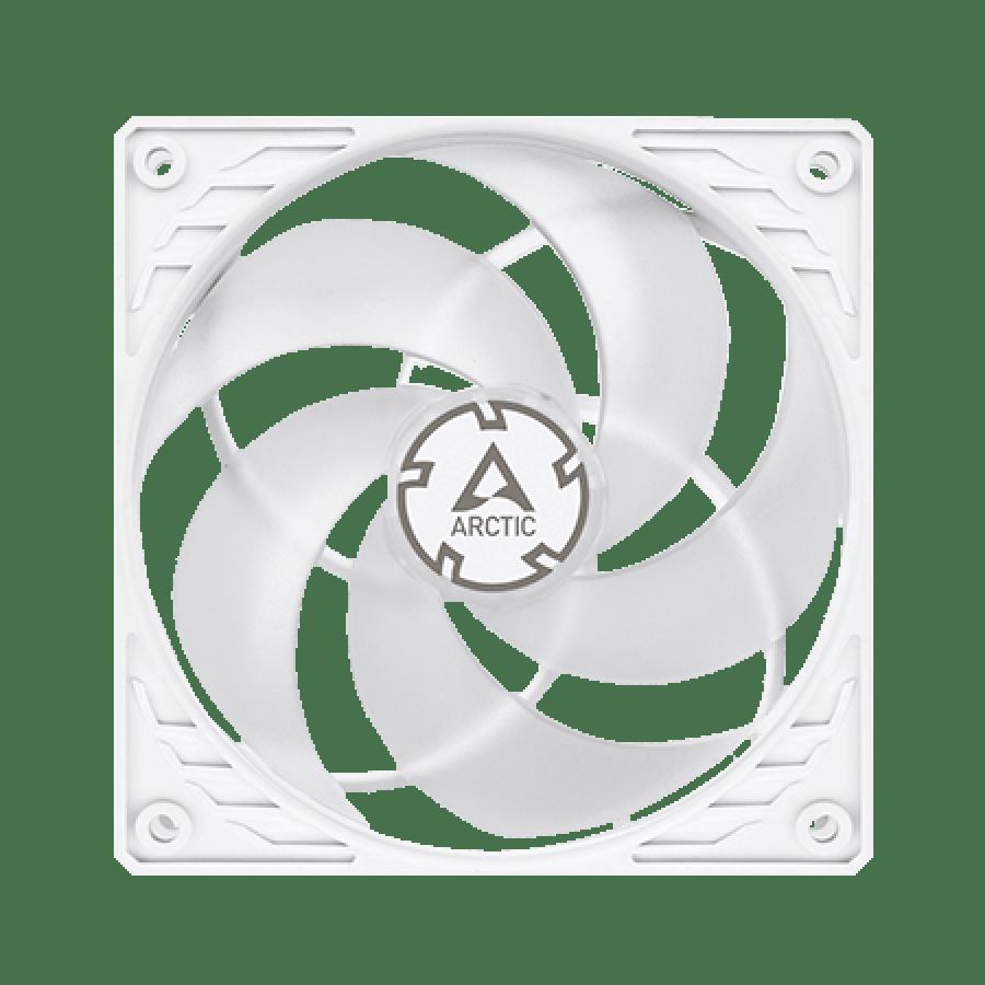 Arctic P12 12CM Pressure Optimised PWM PST Case Fan, Fluid Dynamic - White & Transparent
