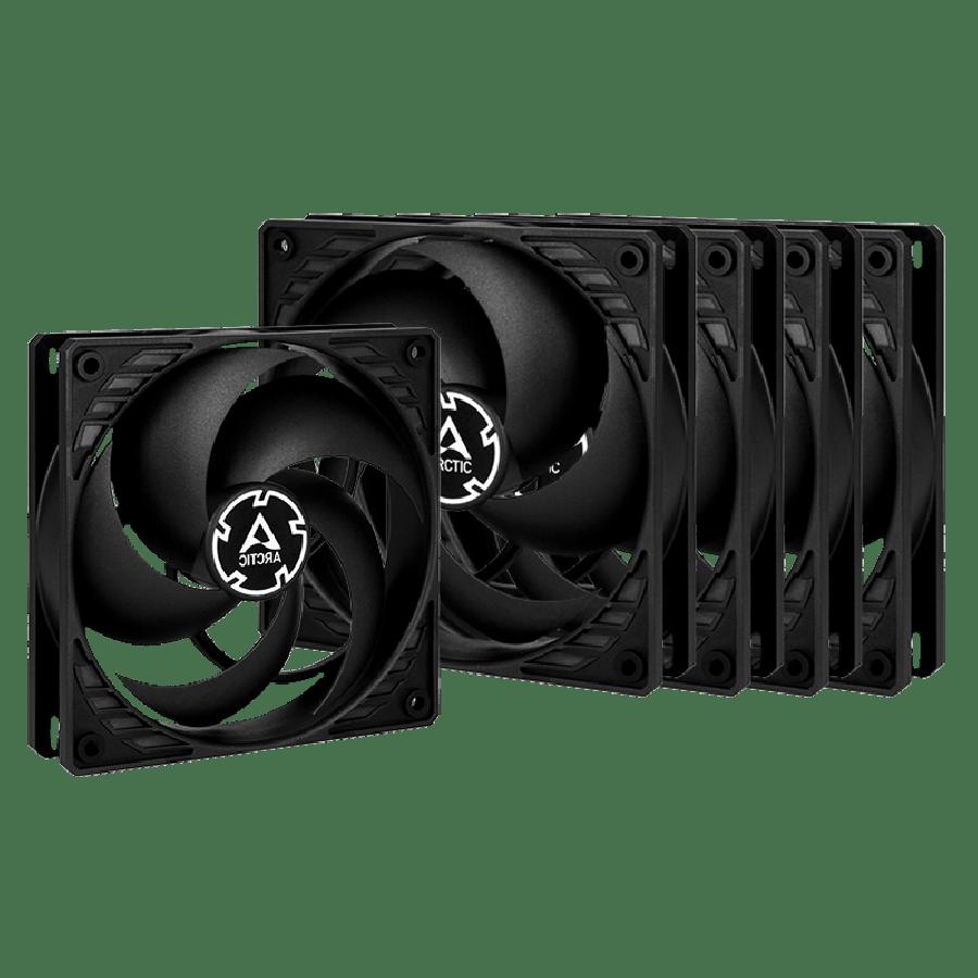 Arctic P12 Pressure Optimised 12CM Case Fans x5, Fluid Dynamic, Value Pack (5 Fans) - Black