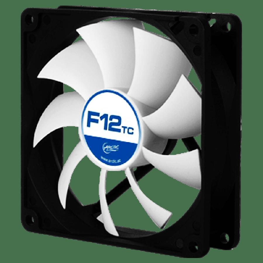 Arctic F12 Temperature Controlled 12CM Case Fan, 9 Blades, Fluid Dynamic - Black & White