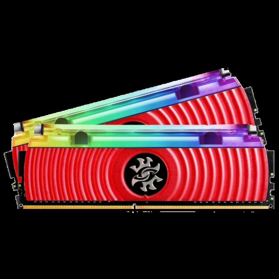 ADATA XPG Spectrix D80 RGB LED 16GB Kit (2 x 8GB), Hybrid Liquid/Air Cooling, DDR4, 3200MHz (PC4-25600), CL16, XMP 2.0, DIMM Memory, Red