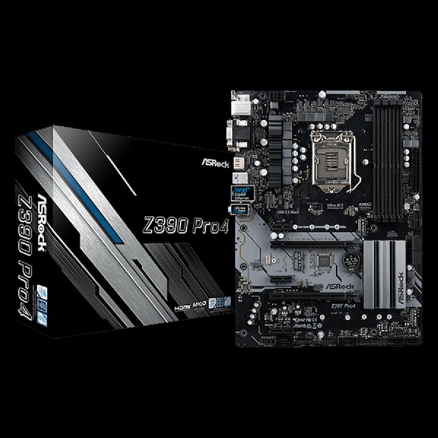 Asrock Z390 PRO4, Intel Z390, 1151, ATX, 4 DDR4, CrossFire, VGA, DVI, HDMI