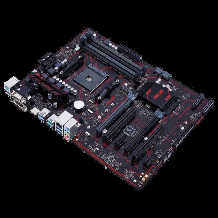 Asus PRIME B350-PLUS, AMD B350, AM4, ATX, 4 DDR4, XFire, VGA, DVI, HDMI, LED Lighting