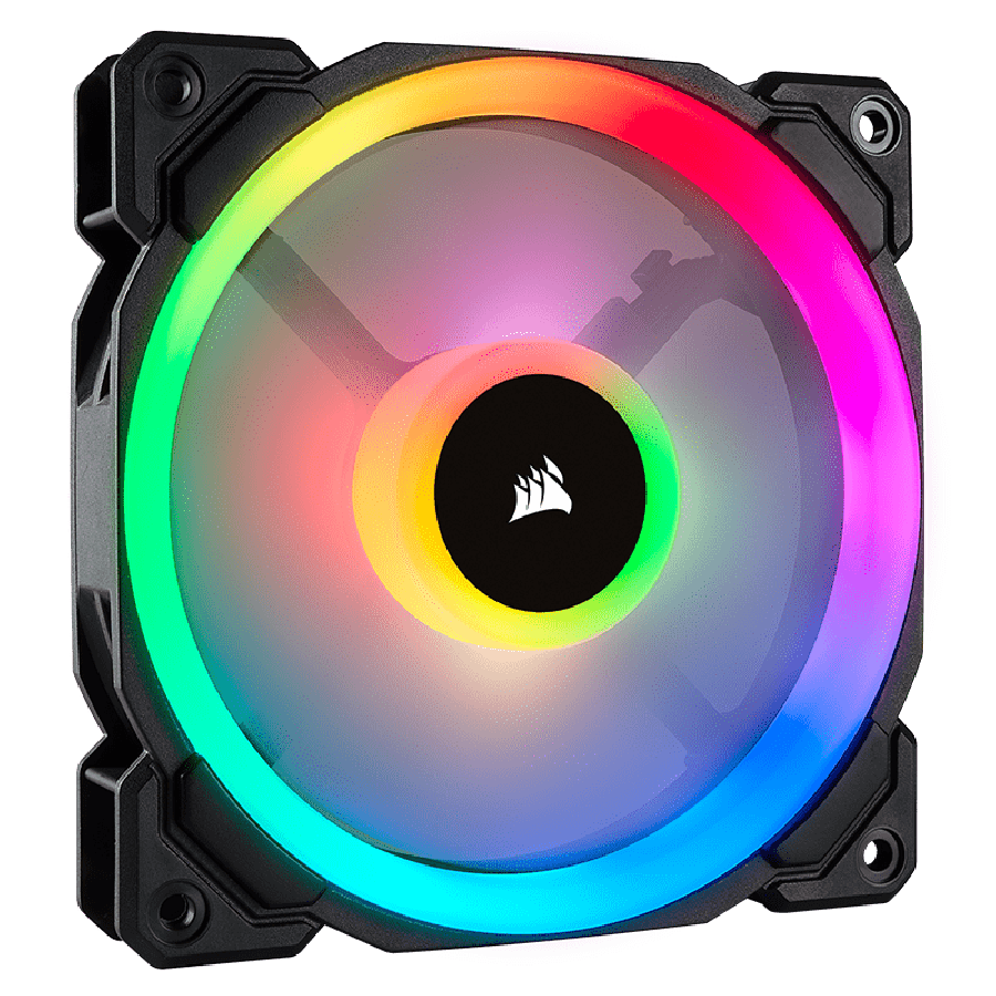 Corsair LL140 14CM PWM, 16 LED RGB Dual Light Loop, Hydraulic Bearing, Case Fan - Black with RGB LEDs