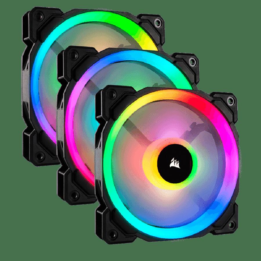 Corsair LL120 12CM PWM RGB Case Fan X3, 16 LED RGB Dual Light Loop, Hydraulic Bearing, 3-Pack - Black with RGB LEDs
