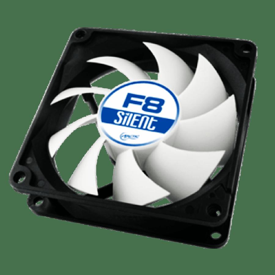 Arctic F8 Silent 8CM Case Fan, 9 Blades, Fluid Dynamic - Black & White