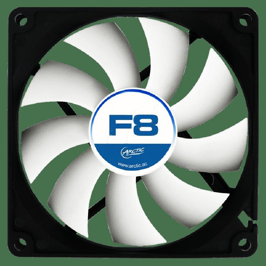 Arctic F8 8CM Case Fan, 9 Blades, Fluid Dynamic - Black & White