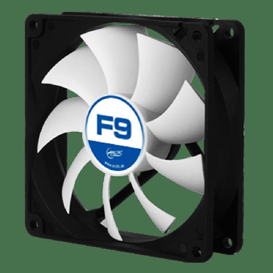 Arctic F9 9.2CM Case Fan, 9 Blades, Fluid Dynamic - Black & White