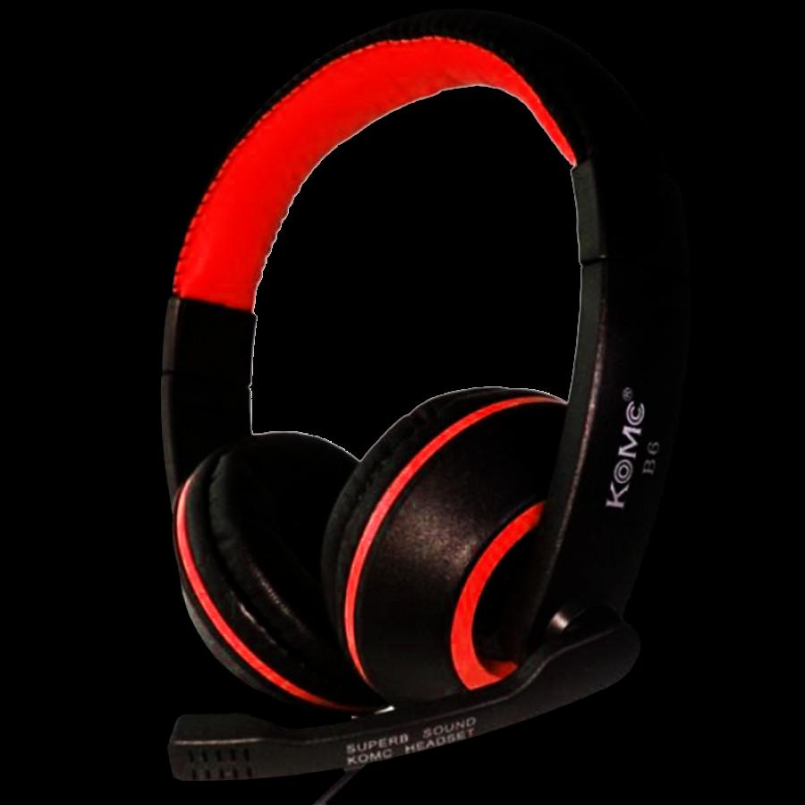 Komc Km-B6 Over-Ear Bass Headphones - Red