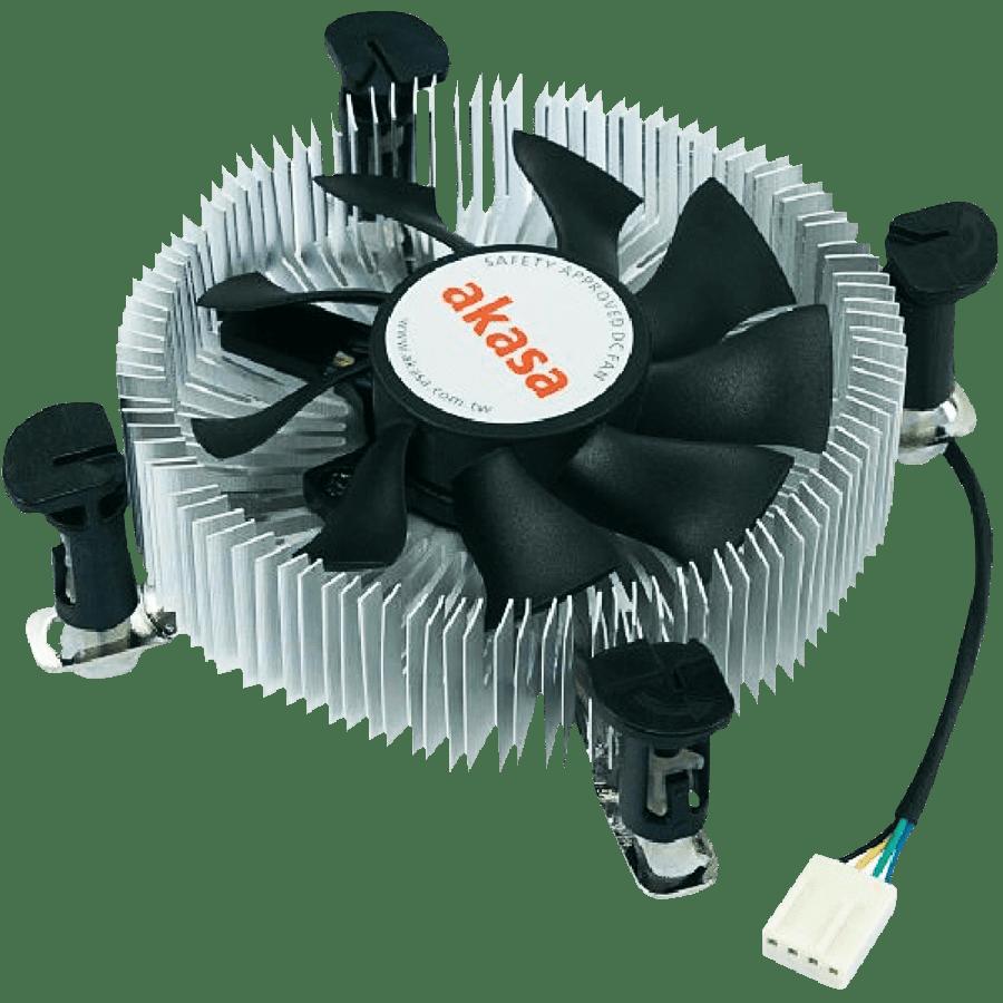 Akasa AK-CCE-7106HP, Sockets 775, 1155, 1156, Low Profile, PWM Heatsink and Fan - Silver & Black