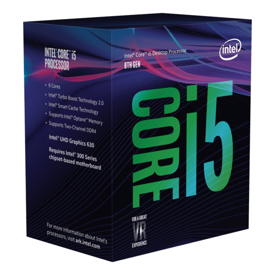Intel Core i5-9400 CPU, 1151, 2.9 GHz (4.1 Turbo), 6-Core, 65W, 14nm, 9MB Cache, UHD GFX, Coffee Lake