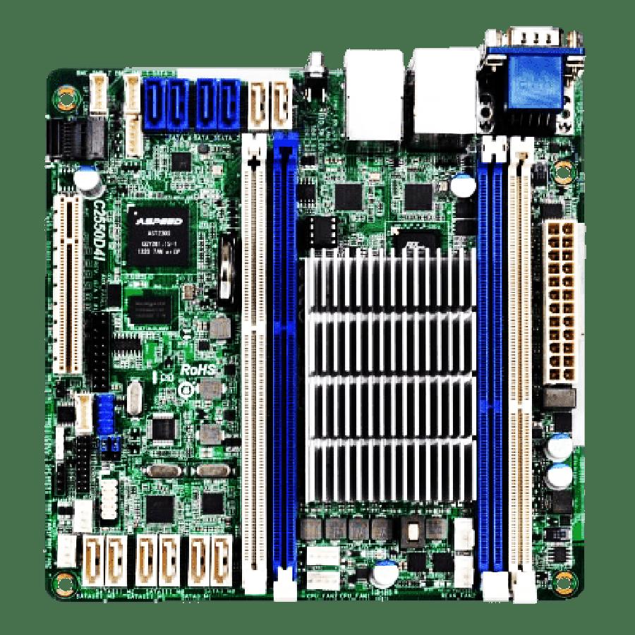 Asrock Rack C2550D4I Server Board, Integrated CPU, Mini ITX, Dual GB LAN, Serial Port, IPMI LAN