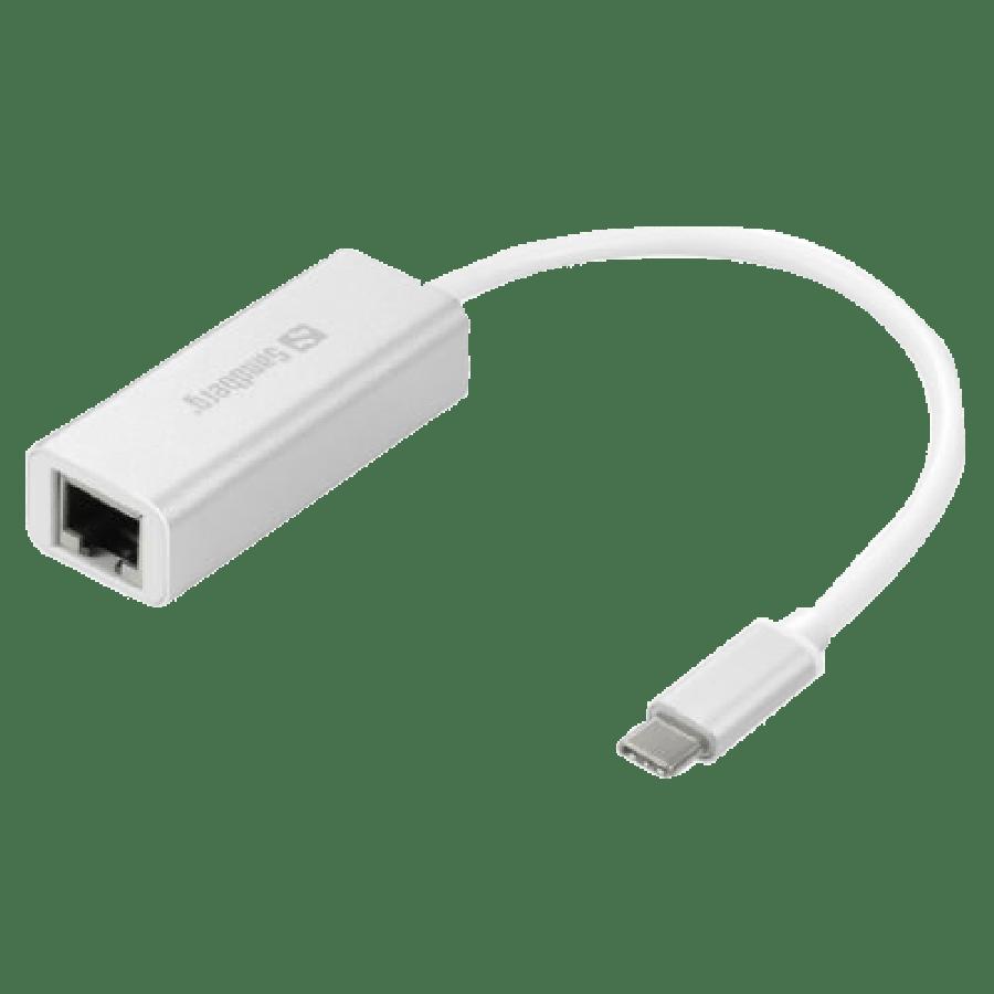 Sandberg USB-C Gigabit Network Adapter, Aluminium Case - White