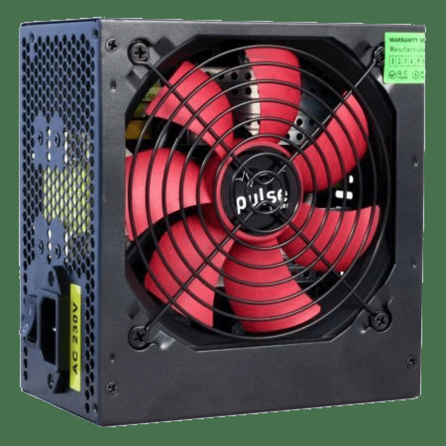 Pulse 750W PSU, ATX 12V, Active PFC, 4 x SATA, PCIe, 120mm Silent Red Fan, Black Casing