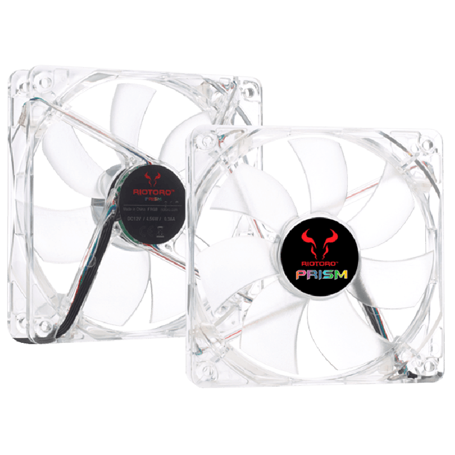 Riotoro Prism Fan Kit, 2 X 12CM Case Fans with Controller, Hydraulic Bearing - RGB, 256 Colors