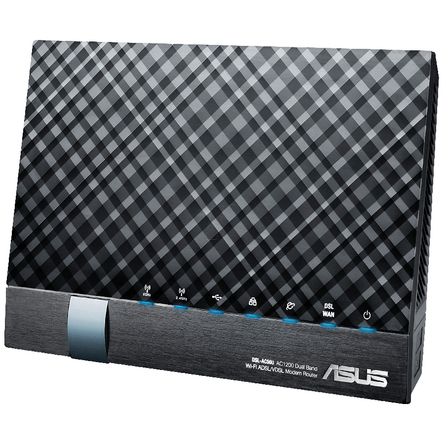 Asus (DSL-AC56U) AC1200 (300+867) Wireless Dual Band GB VDSL2/ADSL2+ Modem Router, USB3, 3G/4G Support - Black