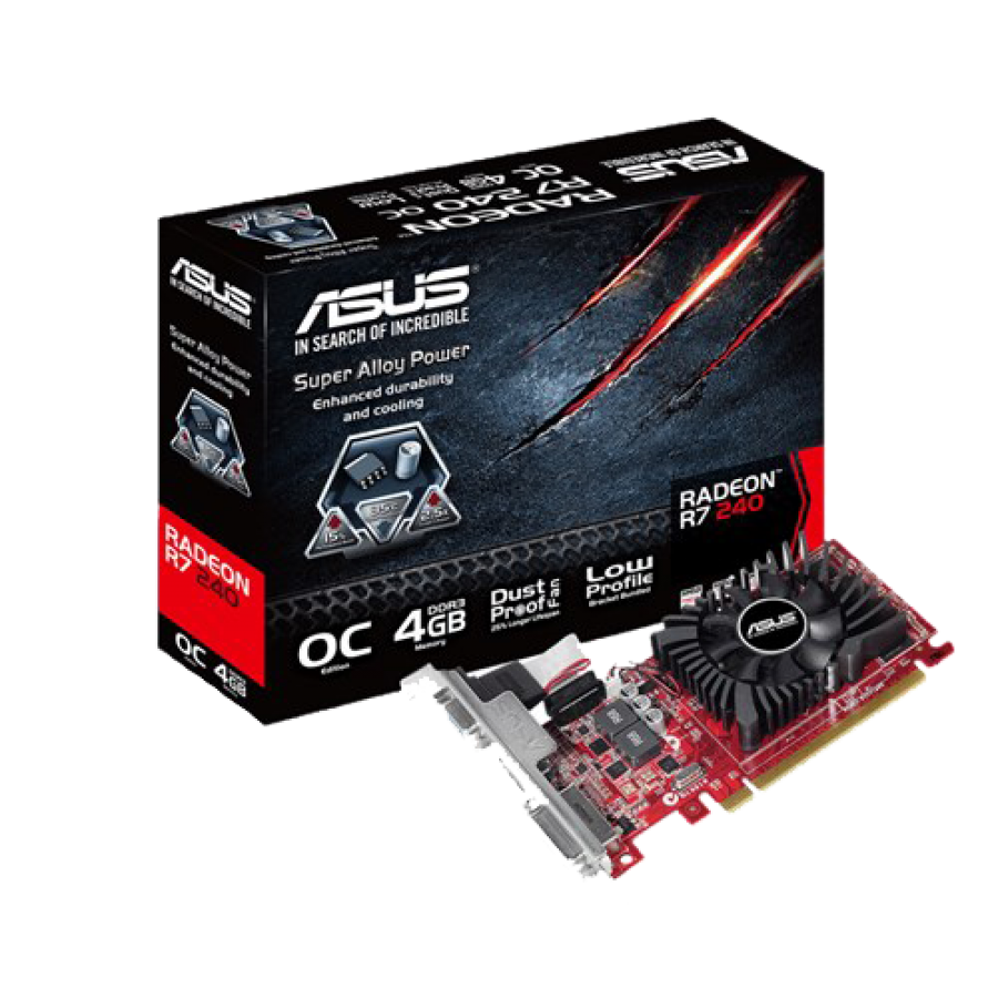 Asus Radeon R7 240, 4GB DDR3, PCIe3, VGA, DVI, HDMI, Low Profile (Bracket Included), Overclocked