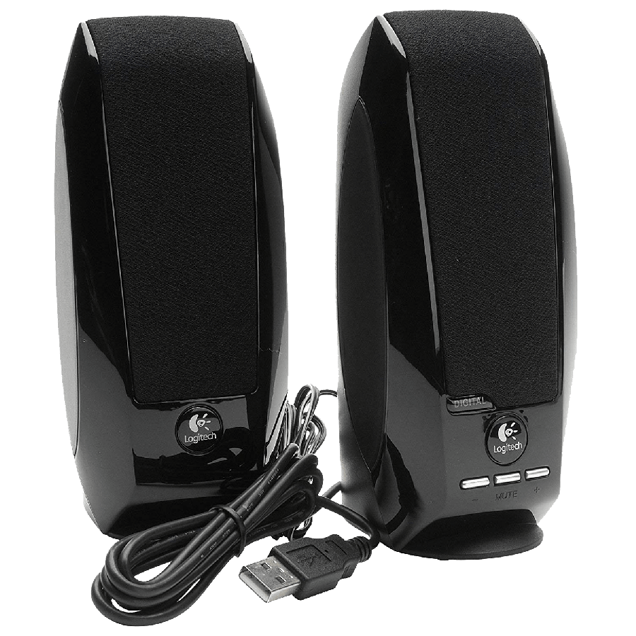 Logitech S150 2.0 Digital Speaker System, 5W RMS, Black, USB, Brown Box