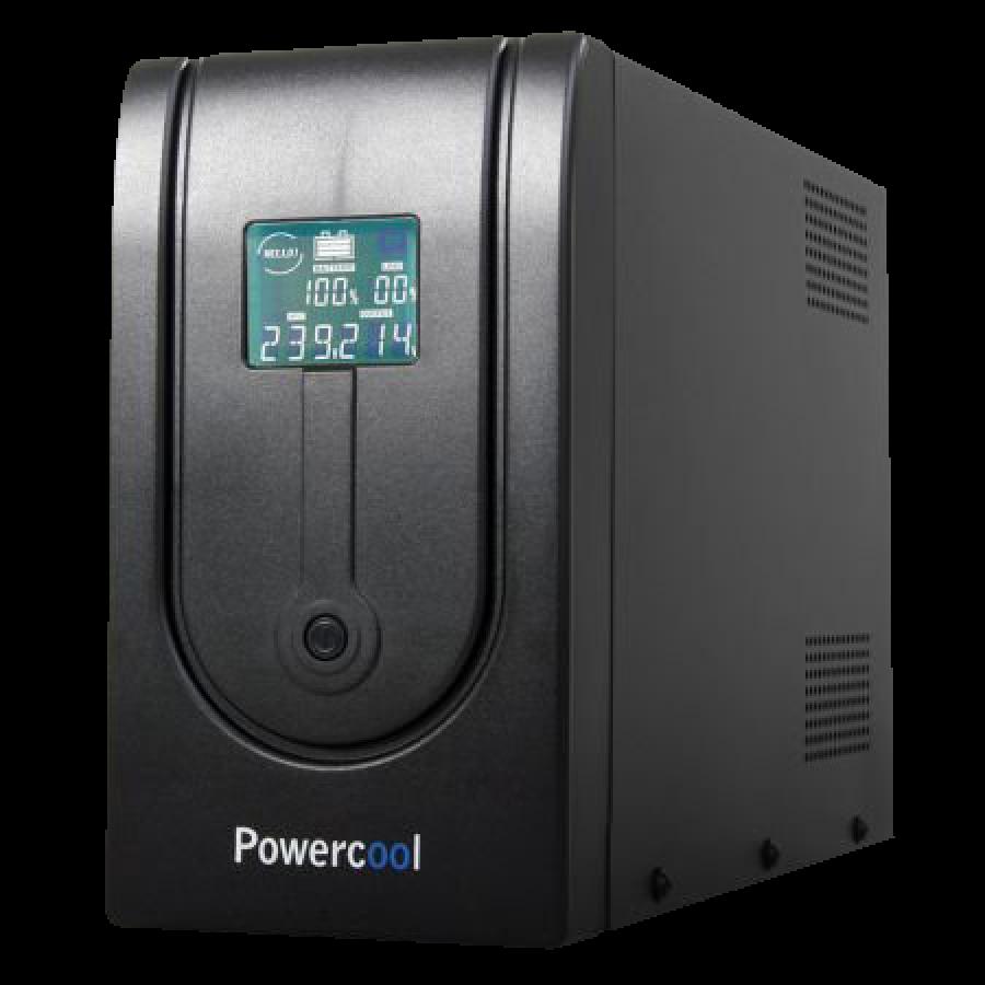 Powercool 1500VA Smart UPS, 900W, LCD Display, 3 x UK Plug, 2 x RJ45, 3 x IEC, USB
