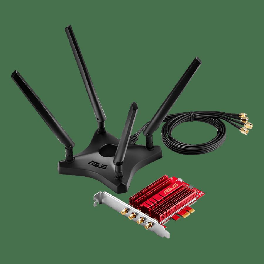 Asus (PCE-AC88) AC3100 (1000 + 2167) Wireless Dual Band PCI-Express Adapter, 4 Antennas, External Base