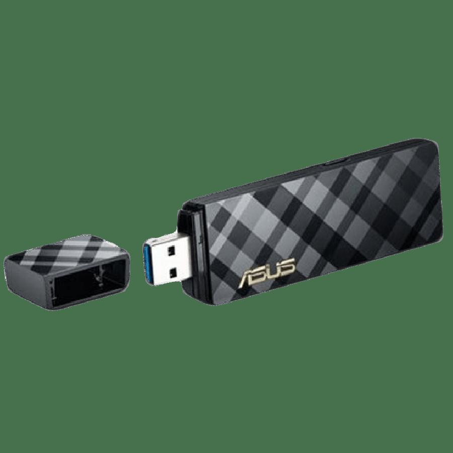Asus (USB-AC54) AC1300 (400+867) Wireless Dual Band USB Adapter, USB 3.0, 256QAM