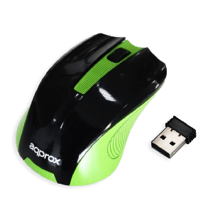 Approx APPWMEGP Wireless Optical Mouse, 1200 DPI, Nano USB, Black & Green