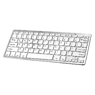 Jedel Portable Wireless Bluetooth Keyboard, 2.4GHz, White Keys - Silver
