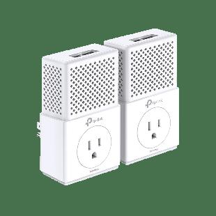 TP-LINK (TL-PA7020P KIT V2) AV1000 GB Powerline Adapter Kit, AC Pass Through - White