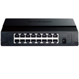 TP-Link (TL-SG1016D) 16-Port Gigabit Unmanaged  Desktop/Rackmount Switch, Steel Case